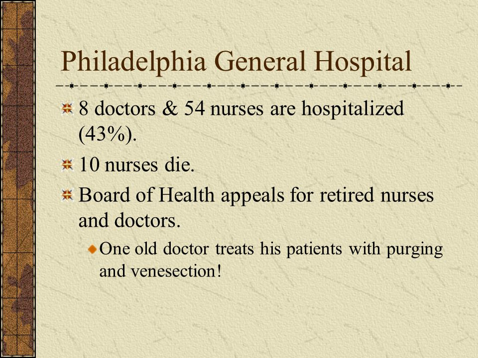 Philadelphia General Hospital 8 doctors & 54 nurses are hospitalized (43%).
