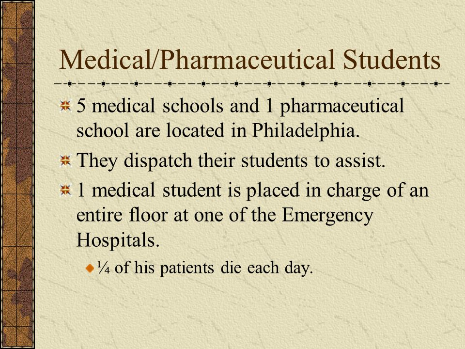 Medical/Pharmaceutical Students 5 medical schools and 1 pharmaceutical school are located in Philadelphia.