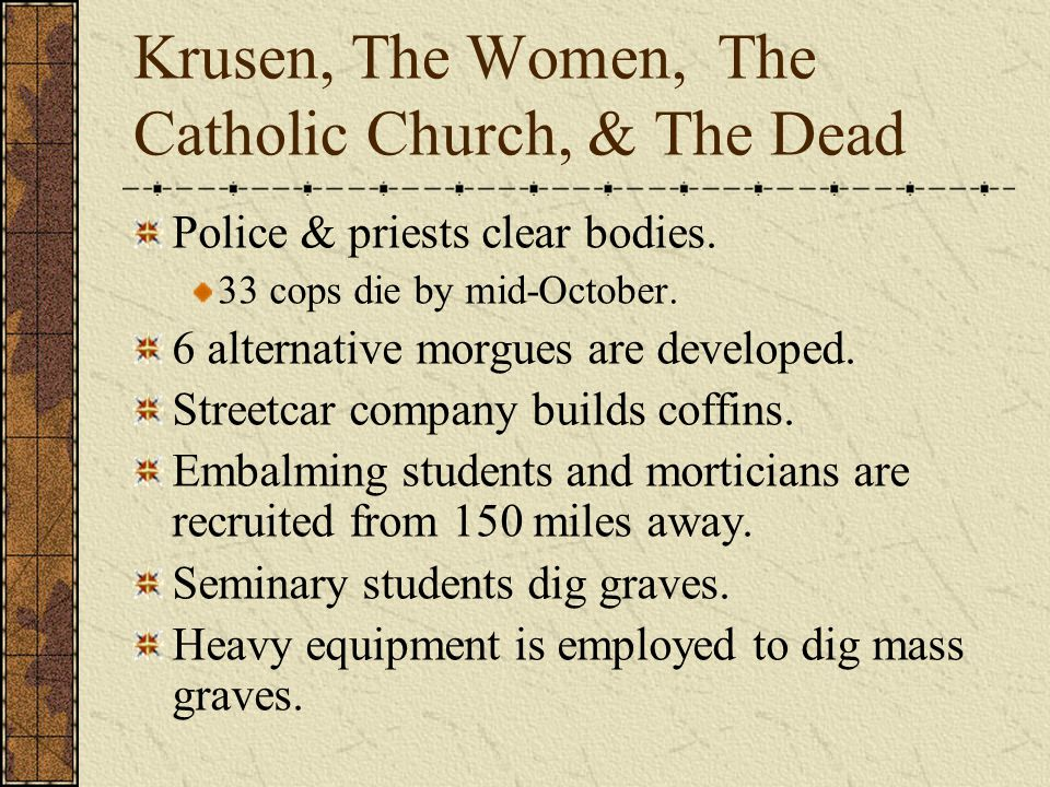 Krusen, The Women, The Catholic Church, & The Dead Police & priests clear bodies.