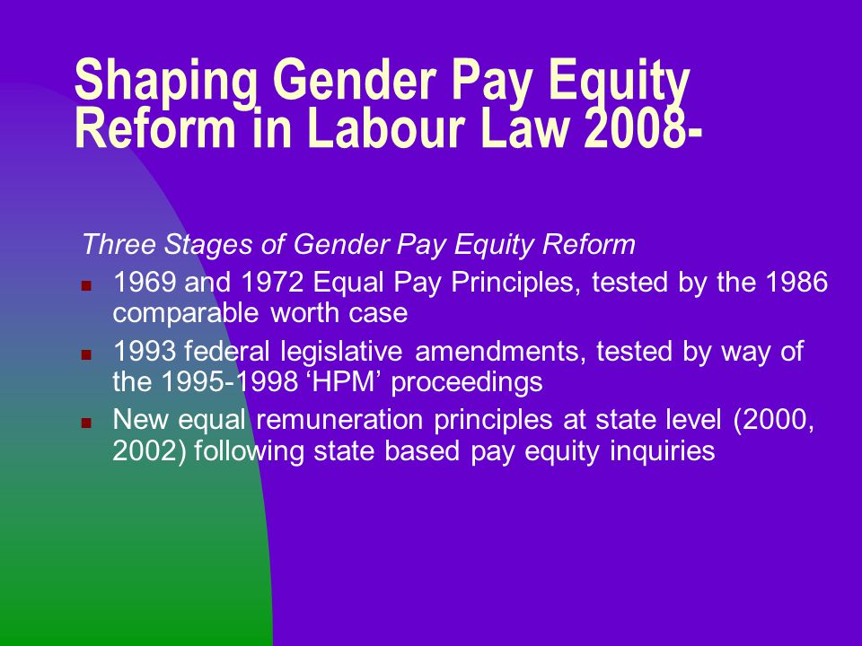 Shaping Gender Pay Equity Reform in Labour Law 2008- Three Stages of Gender Pay Equity Reform 1969 and 1972 Equal Pay Principles, tested by the 1986 c