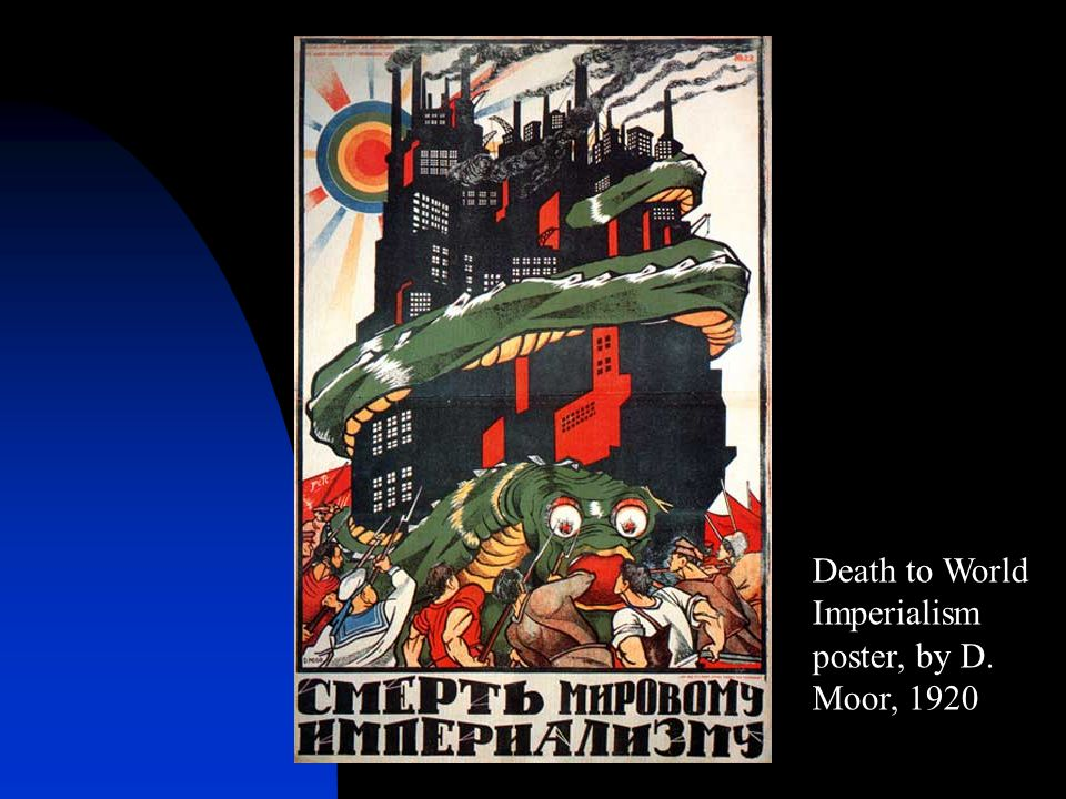 Death to World Imperialism poster, by D. Moor, 1920