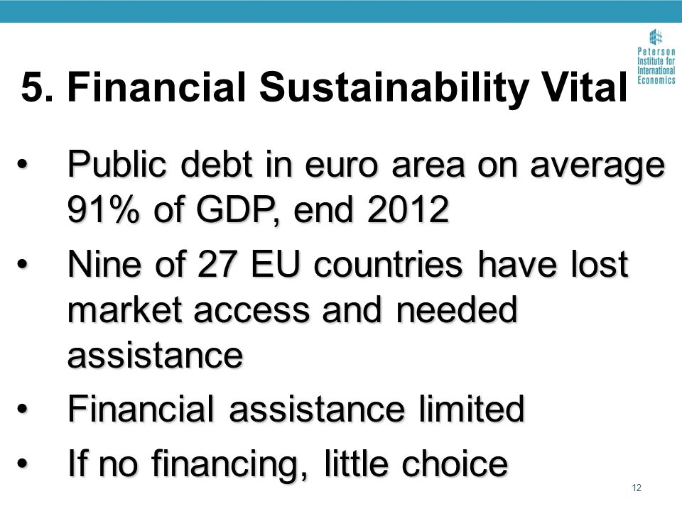 5. Financial Sustainability Vital Public debt in euro area on average 91% of GDP, end 2012Public debt in euro area on average 91% of GDP, end 2012 Nin