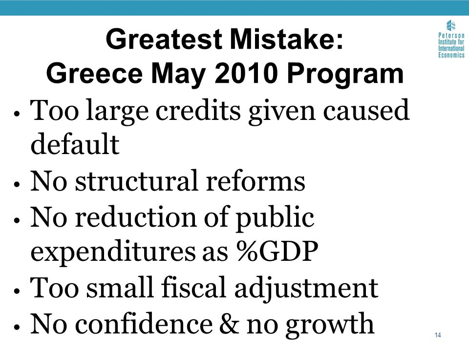 Greatest Mistake: Greece May 2010 Program Too large credits given caused default No structural reforms No reduction of public expenditures as %GDP Too small fiscal adjustment No confidence & no growth 14