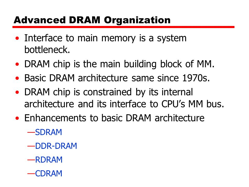 Advanced DRAM Organization Interface to main memory is a system bottleneck.