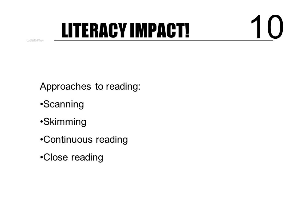 LITERACY IMPACT! Subject-specific vocabulary: Identifying Playing with context Actively exploring Linking to spelling 9