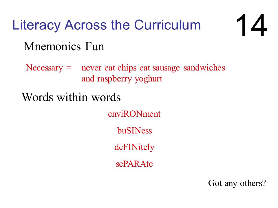 Literacy Across the Curriculum Spelling approaches: RULES (etymology, family of words [muscle/muscular]) PRACTICAL STRATEGIES (mnemonics, key word tri