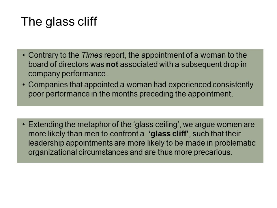 Contrary to the Times report, the appointment of a woman to the board of directors was not associated with a subsequent drop in company performance.