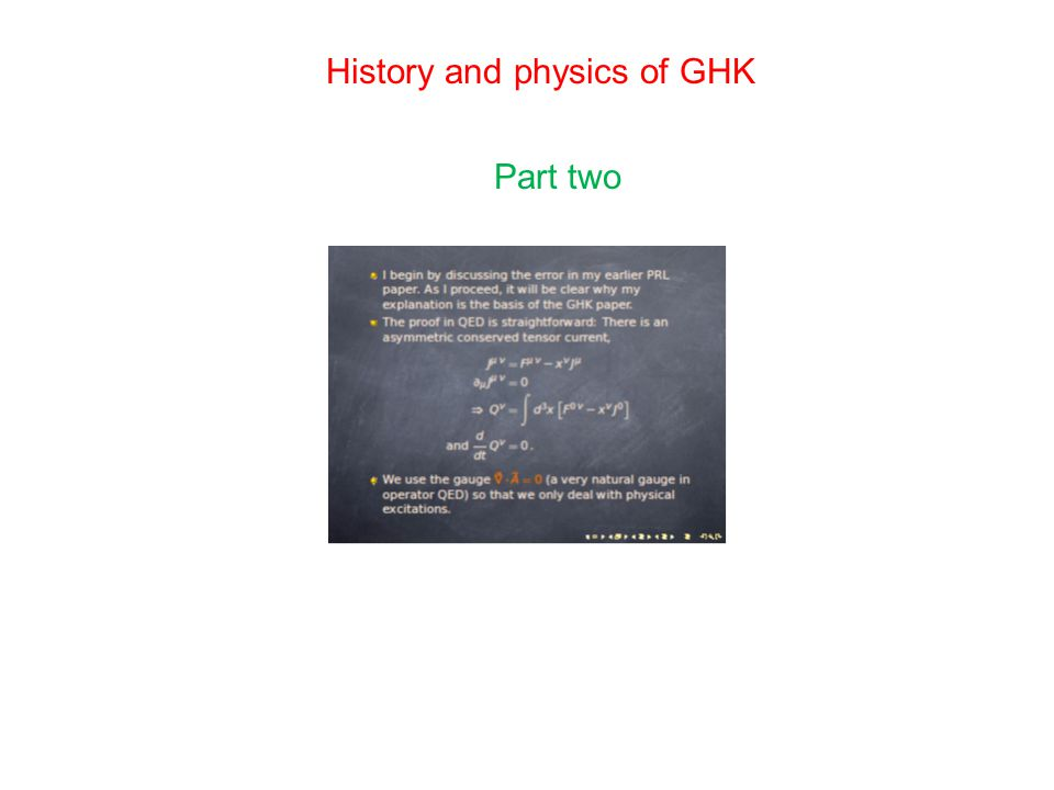 History and physics of GHK Part two