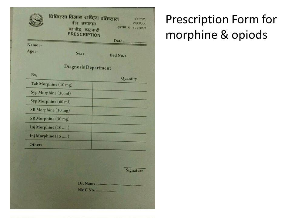 Prescription Form for morphine & opiods