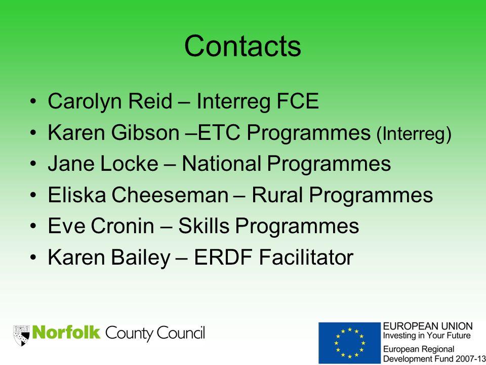 Contacts Carolyn Reid – Interreg FCE Karen Gibson –ETC Programmes (Interreg) Jane Locke – National Programmes Eliska Cheeseman – Rural Programmes Eve Cronin – Skills Programmes Karen Bailey – ERDF Facilitator