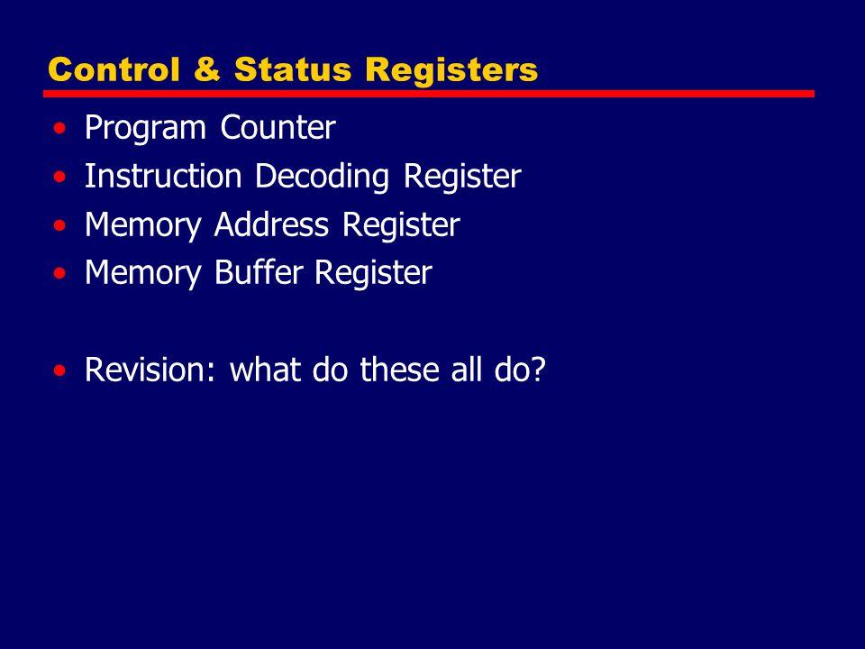 Control & Status Registers Program Counter Instruction Decoding Register Memory Address Register Memory Buffer Register Revision: what do these all do