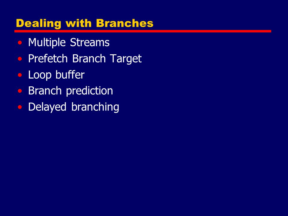 Dealing with Branches Multiple Streams Prefetch Branch Target Loop buffer Branch prediction Delayed branching