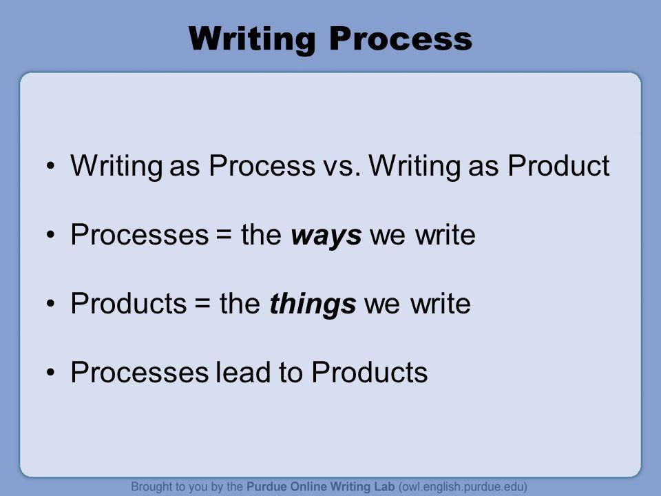 Writing Process Writing as Process vs.