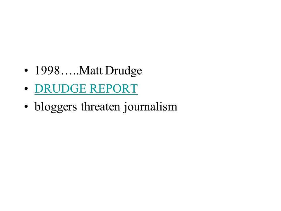 1998…..Matt Drudge DRUDGE REPORT bloggers threaten journalism