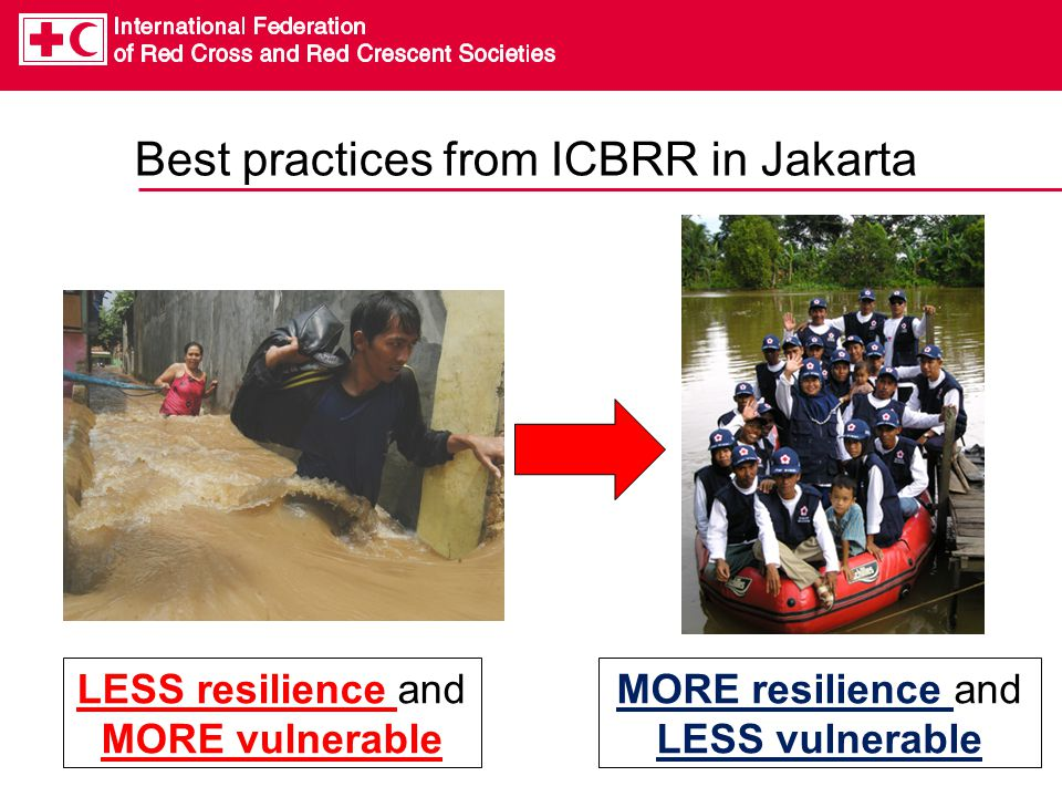 Best practices from ICBRR in Jakarta LESS resilience and MORE vulnerable MORE resilience and LESS vulnerable