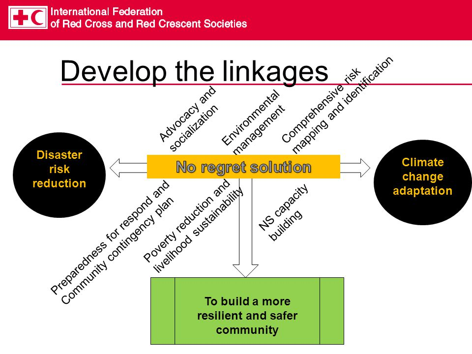 Develop the linkages Disaster risk reduction To build a more resilient and safer community Preparedness for respond and Community contingency plan Environmental management Comprehensive risk mapping and identification Poverty reduction and livelihood sustainability Advocacy and socialization NS capacity building Climate change adaptation