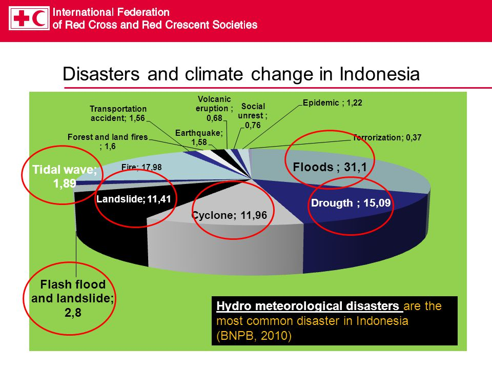 Disasters and climate change in Indonesia Hydro meteorological disasters are the most common disaster in Indonesia (BNPB, 2010)