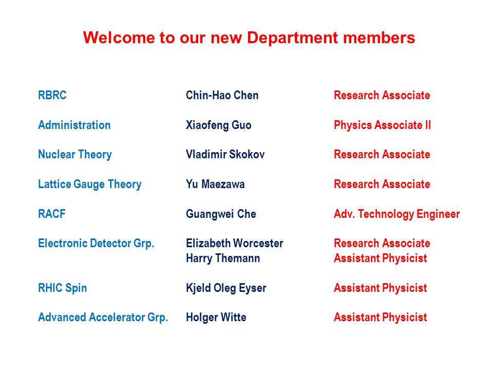 Welcome to our new Department members RBRCChin-Hao ChenResearch Associate AdministrationXiaofeng GuoPhysics Associate II Nuclear TheoryVladimir SkokovResearch Associate Lattice Gauge TheoryYu MaezawaResearch Associate RACFGuangwei CheAdv.