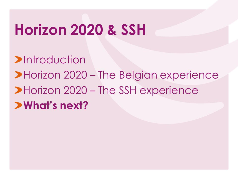 Introduction Horizon 2020 – The Belgian experience Horizon 2020 – The SSH experience What's next.