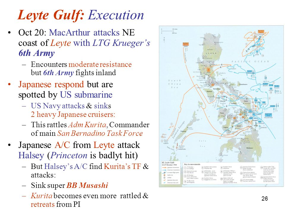 26 Leyte Gulf: Execution Oct 20: MacArthur attacks NE coast of Leyte with LTG Krueger's 6th Army –Encounters moderate resistance but 6th Army fights inland Japanese respond but are spotted by US submarine –US Navy attacks & sinks 2 heavy Japanese cruisers: –This rattles Adm Kurita, Commander of main San Bernadino Task Force Japanese A/C from Leyte attack Halsey (Princeton is badlyt hit) –But Halsey's A/C find Kurita's TF & attacks: –Sink super BB Musashi –Kurita becomes even more rattled & retreats from PI
