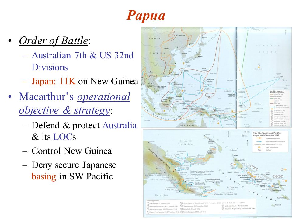 47 Papua Order of Battle: –Australian 7th & US 32nd Divisions –Japan: 11K on New Guinea Macarthur's operational objective & strategy: –Defend & protect Australia & its LOCs –Control New Guinea –Deny secure Japanese basing in SW Pacific