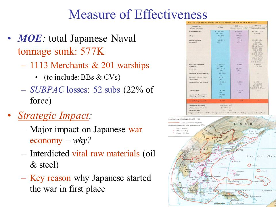 53 Measure of Effectiveness MOE: total Japanese Naval tonnage sunk: 577K –1113 Merchants & 201 warships (to include: BBs & CVs) –SUBPAC losses: 52 subs (22% of force) Strategic Impact: –Major impact on Japanese war economy – why.