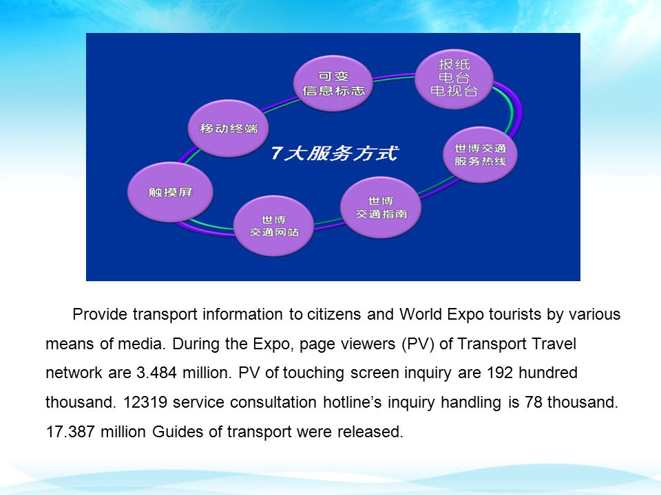 Provide transport information to citizens and World Expo tourists by various means of media.