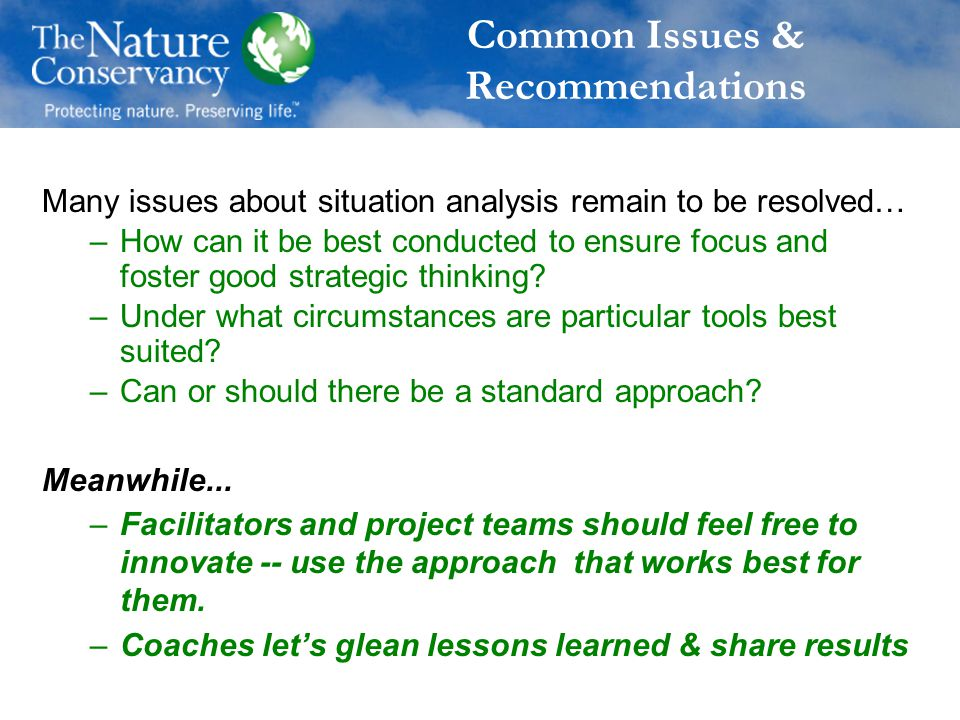 Common Issues & Recommendations Many issues about situation analysis remain to be resolved… –How can it be best conducted to ensure focus and foster good strategic thinking.