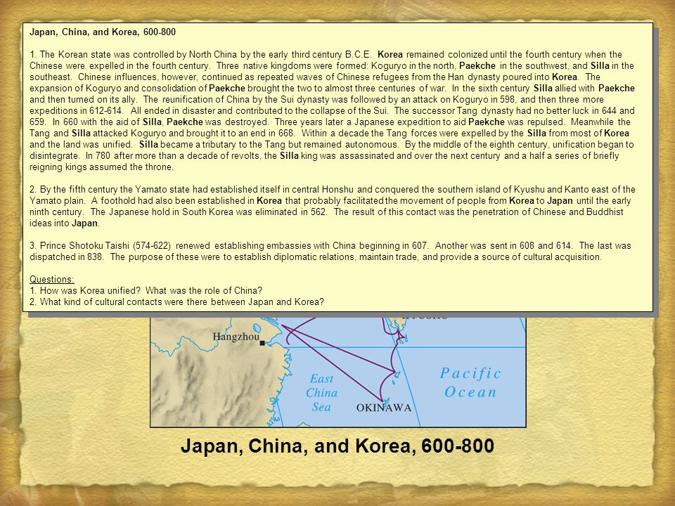Japan, China, and Korea, 600-800 1.