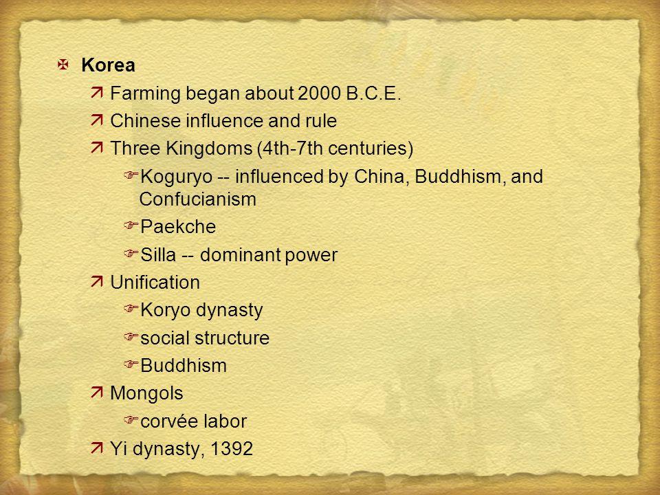 XKorea äFarming began about 2000 B.C.E.