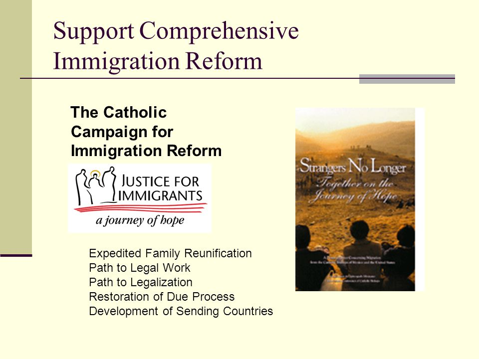 Support Comprehensive Immigration Reform The Catholic Campaign for Immigration Reform Expedited Family Reunification Path to Legal Work Path to Legali