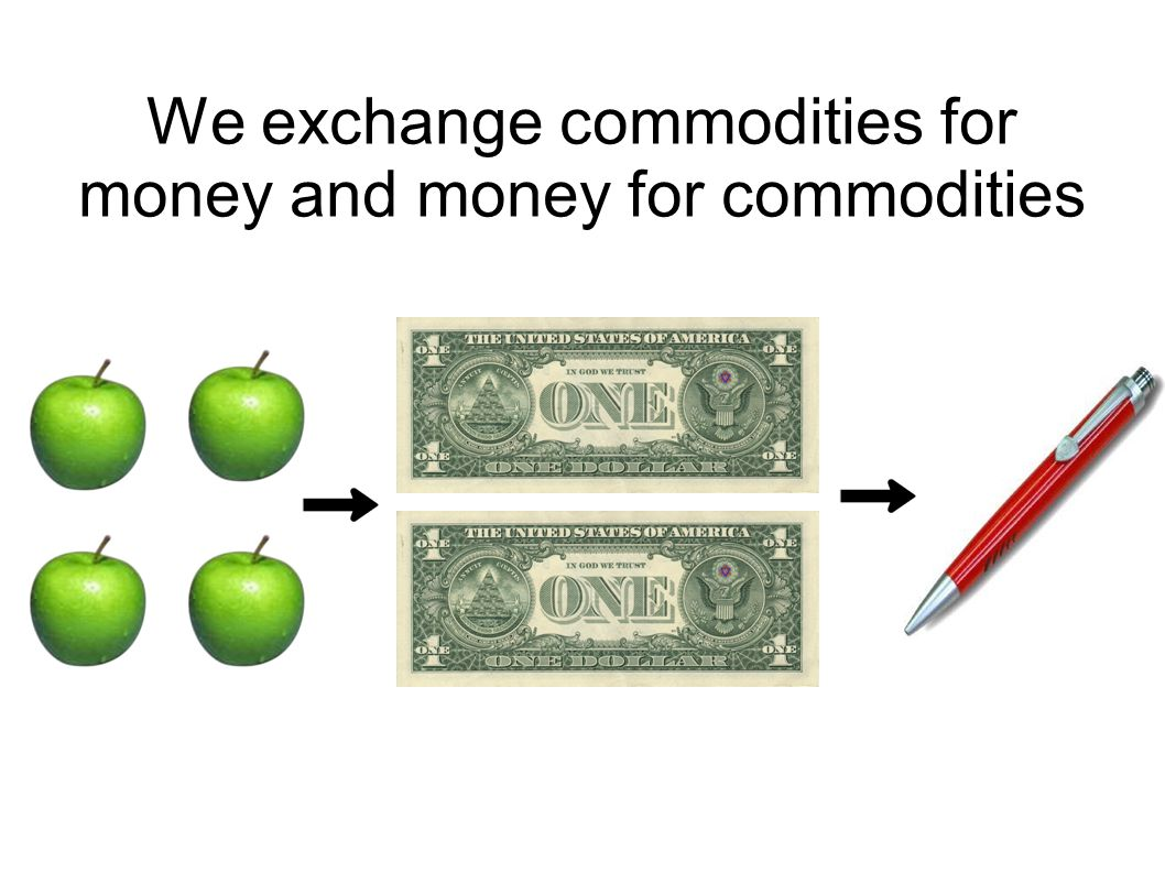 We exchange commodities for money and money for commodities