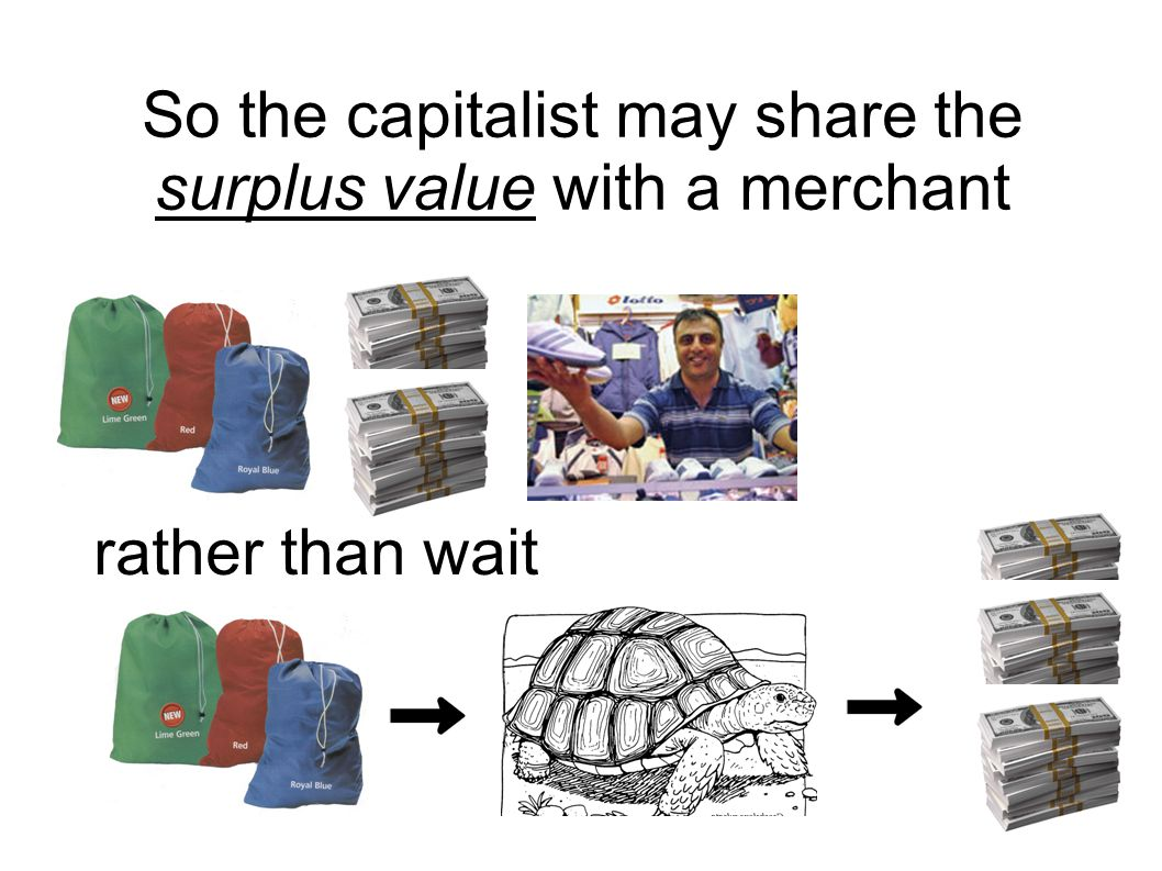 rather than wait So the capitalist may share the surplus value with a merchant