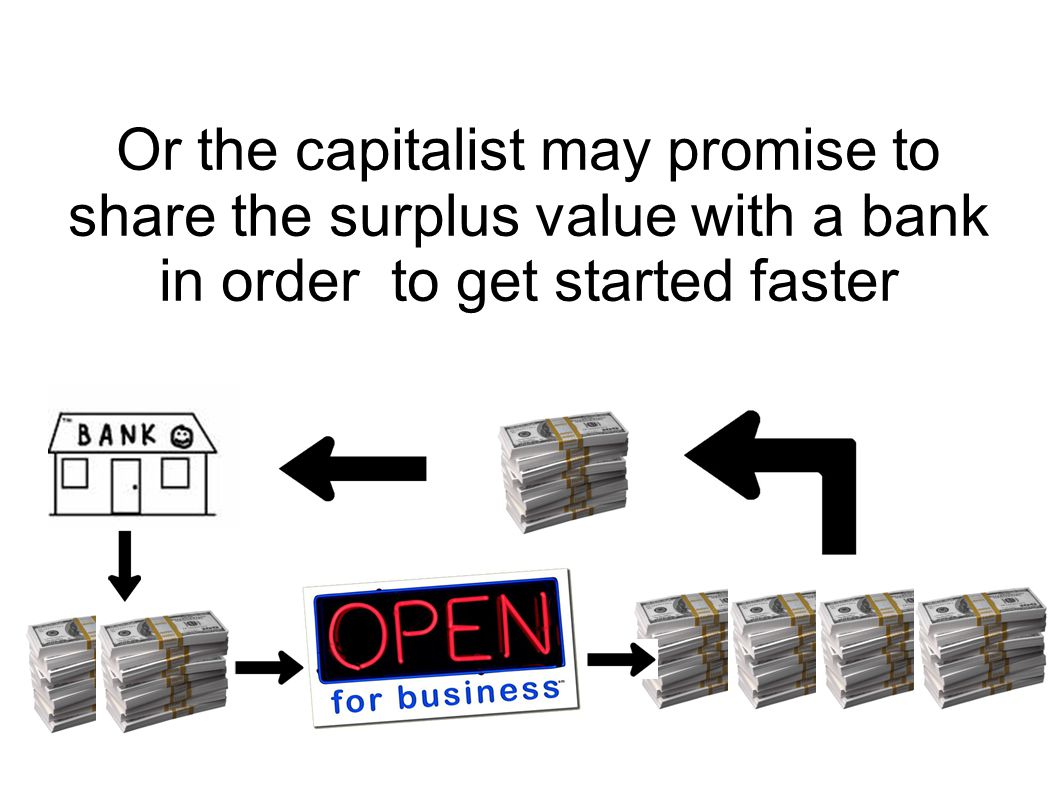Or the capitalist may promise to share the surplus value with a bank in order to get started faster