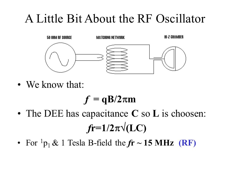 A Little Bit About the RF Oscillator We know that: f = qB/2  m The DEE has capacitance C so L is choosen: fr=1/2  (LC) For 1 p 1 & 1 Tesla B-field the fr ~ 15 MHz (RF)
