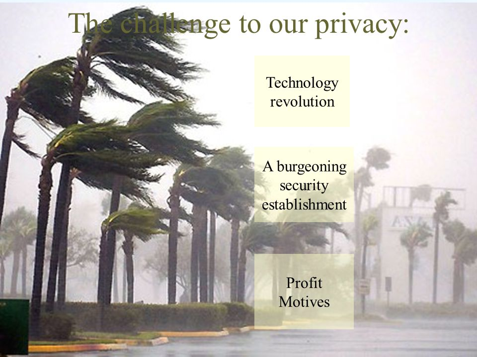 The challenge to our privacy: Technology revolution A burgeoning security establishment Profit Motives