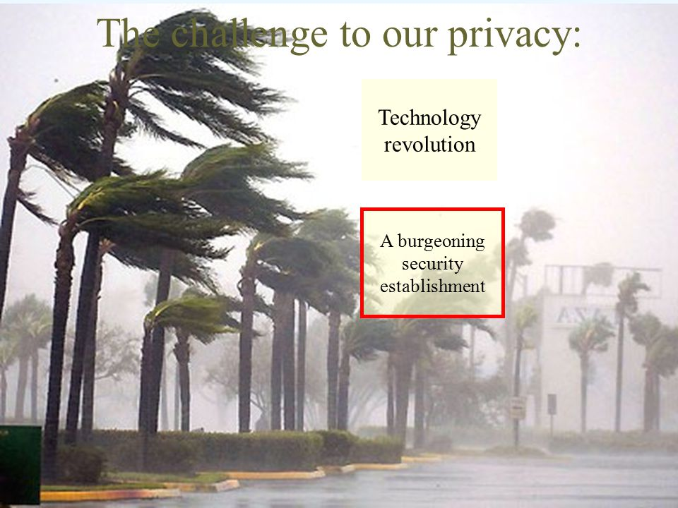 The challenge to our privacy: Technology revolution A burgeoning security establishment