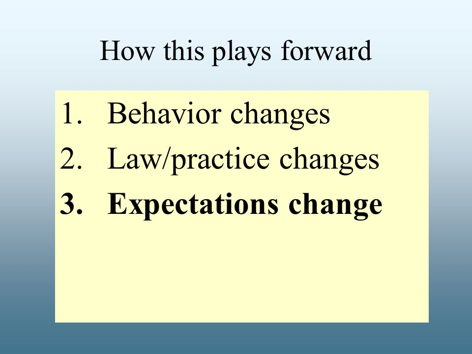 How this plays forward 1.Behavior changes 2.Law/practice changes 3.Expectations change