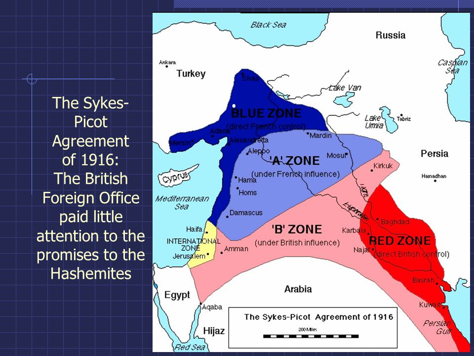 The Sykes- Picot Agreement of 1916: The British Foreign Office paid little attention to the promises to the Hashemites