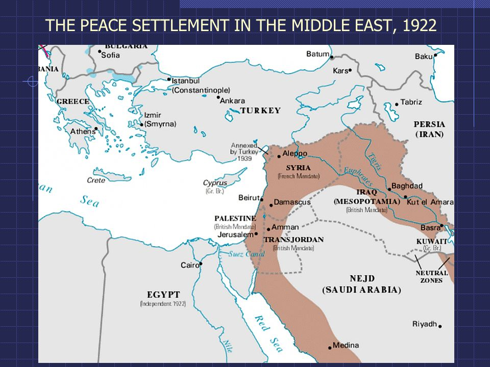 THE PEACE SETTLEMENT IN THE MIDDLE EAST, 1922