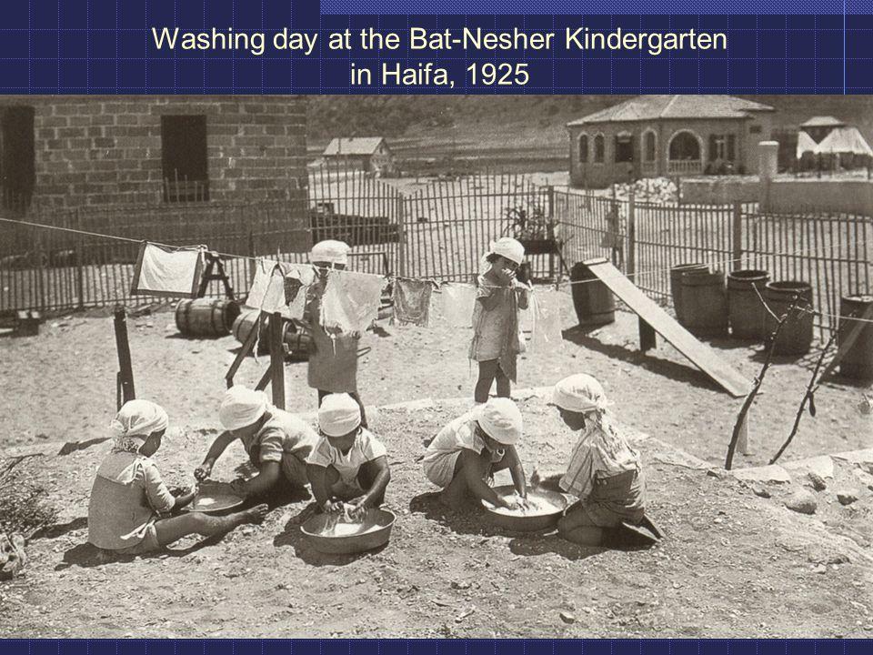 Washing day at the Bat-Nesher Kindergarten in Haifa, 1925