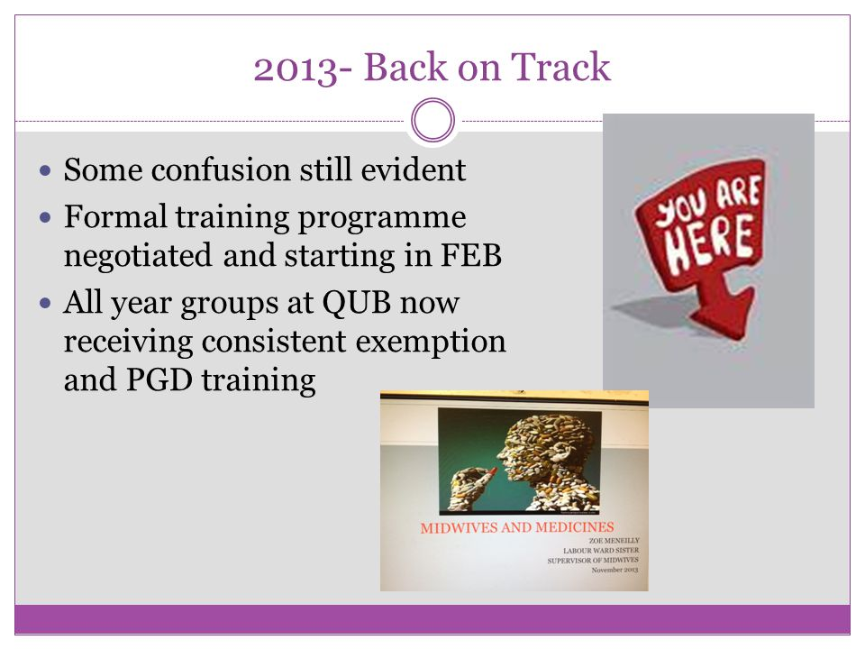 2013- Back on Track Some confusion still evident Formal training programme negotiated and starting in FEB All year groups at QUB now receiving consistent exemption and PGD training
