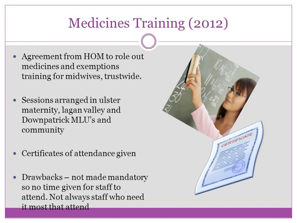 Medicines Training (2012) Agreement from HOM to role out medicines and exemptions training for midwives, trustwide.