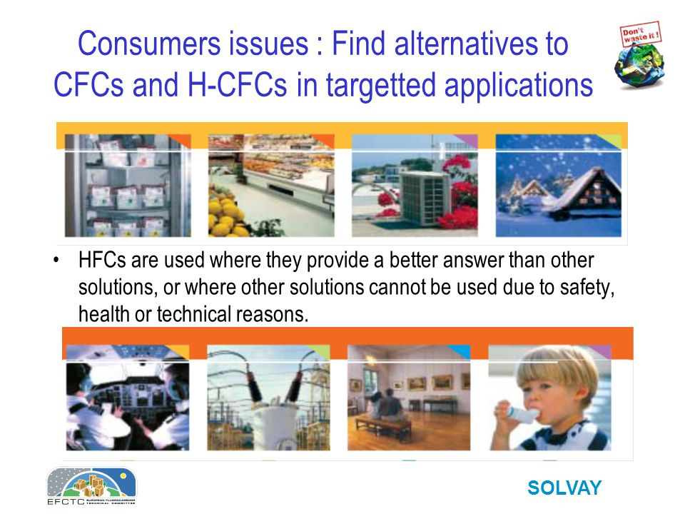 SOLVAY Consumers issues : are alternatives to CFCs and H-CFCs equally safe .