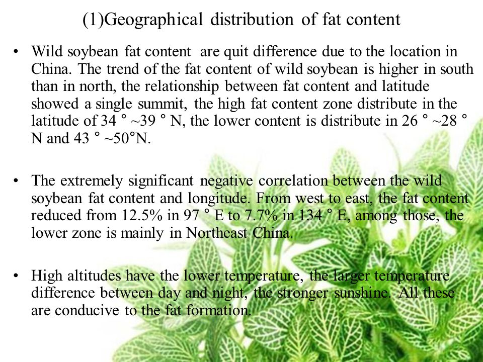 (1)Geographical distribution of fat content Wild soybean fat content are quit difference due to the location in China. The trend of the fat content of
