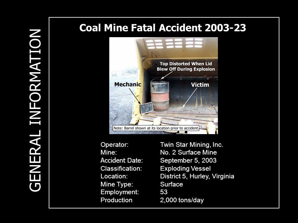 Coal Mine Fatal Accident 2003-23 Operator:Twin Star Mining, Inc.