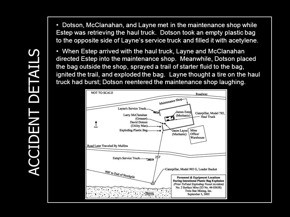ACCIDENT DETAILS Dotson, McClanahan, and Layne met in the maintenance shop while Estep was retrieving the haul truck.