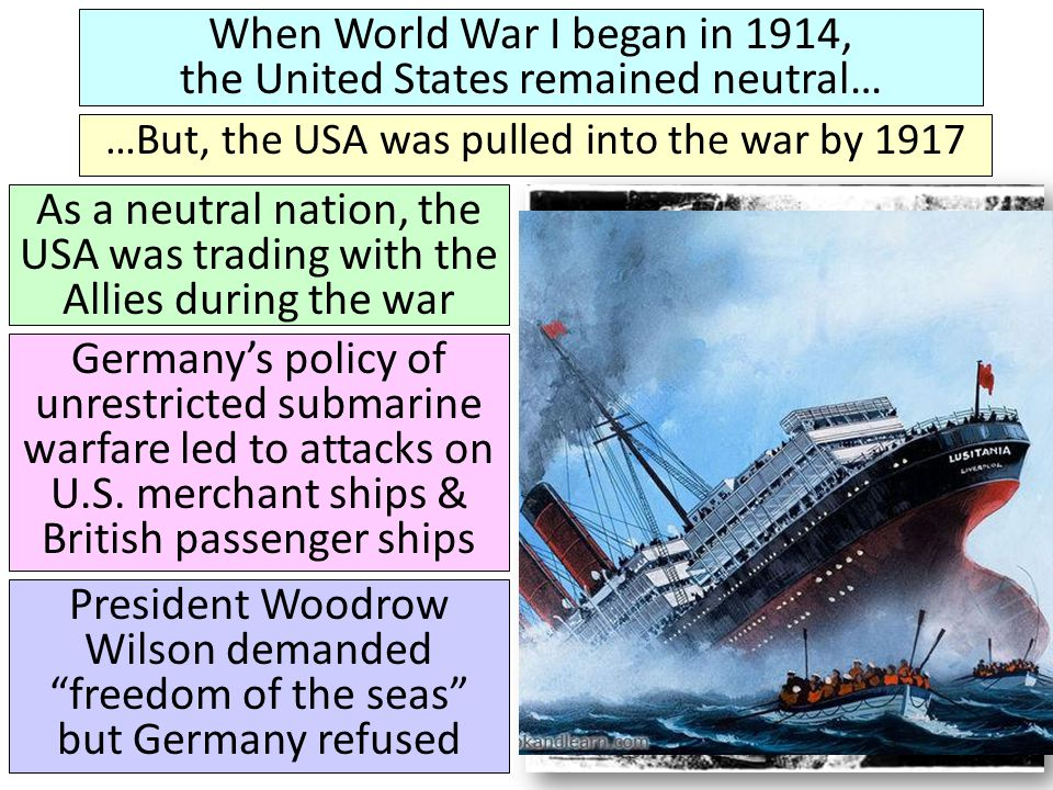 To keep Germany from trading with other nations, Britain used its navy to blockade Europe Germany responded by using unrestricted submarine warfare to attack the British navy & any merchant ships supplying the Allies German u-boat attacks played a role in bringing the USA into World War I