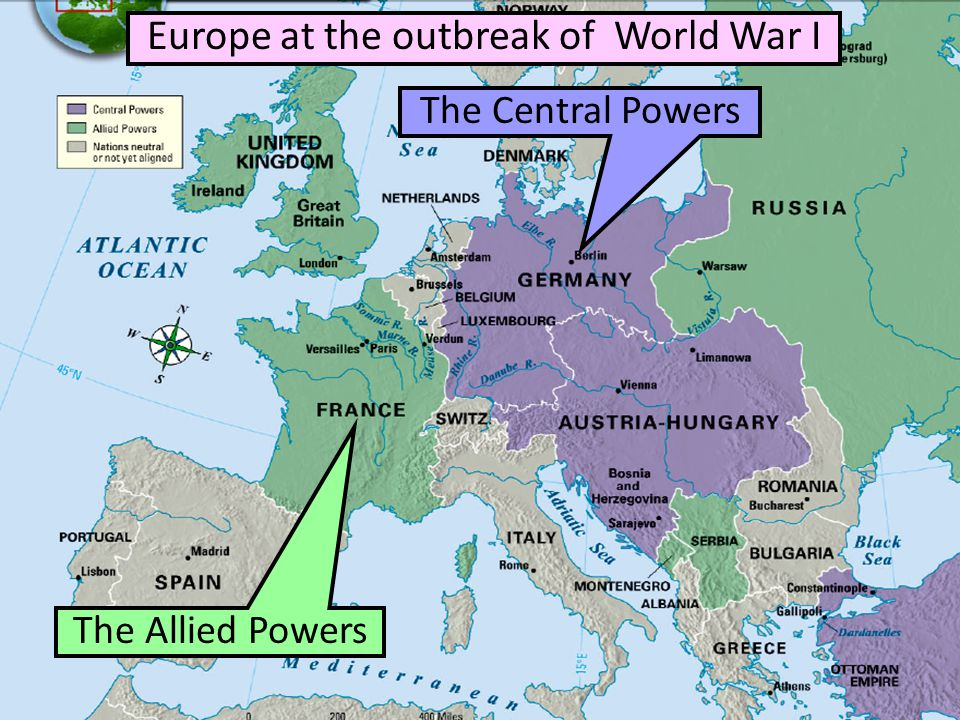 ■ Text Europe before the war The Allied Powers The Central Powers Europe at the outbreak of World War I