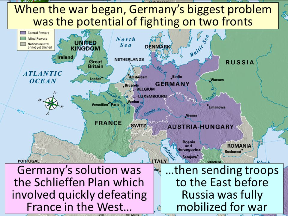 When the war began, Germany's biggest problem was the potential of fighting on two fronts Germany's solution was the Schlieffen Plan which involved quickly defeating France in the West… …then sending troops to the East before Russia was fully mobilized for war